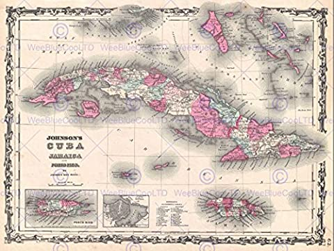 1862 JOHNSON MAP CUBA AND PORTO RICO VINTAGE POSTER AFFICHE ART PRINT 12x16 inch 30x40cm 2933PY
