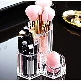 Organizador de Maquillaje Portaescobillas 3 Secciones Acrílico Cosméticos Estuche de almacenamiento Soporte para Maquillaje,
