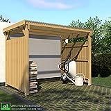ghs Unterstand 3x2 mit 2-seitigem Wetterschutz, Überdachung für Gartengeräte + Gartenmöbel