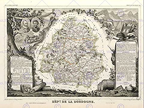 MAP OLD FRANCE LEVASSEUR DORDOGNE DEPARTMENT POSTER AFFICHE ART PRINT BB12026B