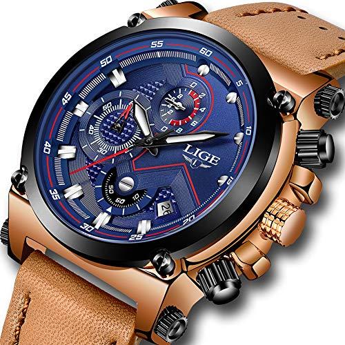LIGE Uhren Herren Chronograph Wasserdicht Analog Quarzuhr Lederband 9856C Blau ()