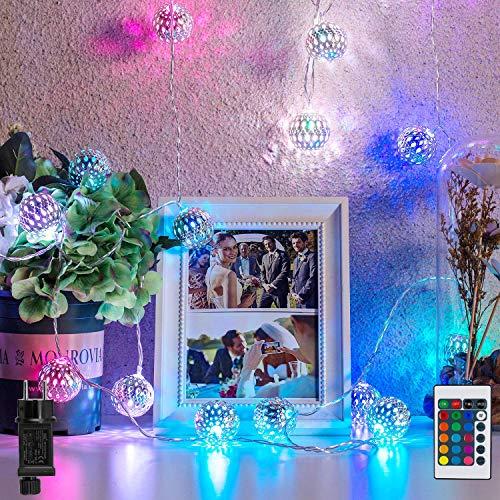 Marokkanische Kugel LED Lichterkette RGB   16 Farben Orientalisch Kugeln Fairy Light   4M 20 LED Hänge Laterne Licht mit Stecker & Fernbedienung   fur Bohemian Tapestry, Valentinstag & Weihnachten