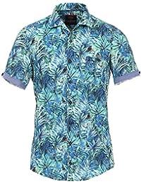 CASAMODA Herren Leinenmischung Hemd Halbarm mit Modischem Druck Casual Fit 54% Leinen, 46% Baumwolle