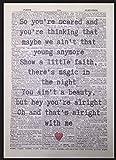 Bruce Springsteen Thunder Road Lyrics Vintage Dictionary Page Print Wall Art