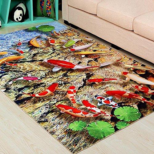 WXDD Moderne 3D- Kinder Teppich, Sofa im Wohnzimmer, Tee- tisch Matte, Haushalt Schlafzimmer, Bett, Decke, benutzerdefinierte Betten,40 x 60 cm, Fisch jedes Jahr
