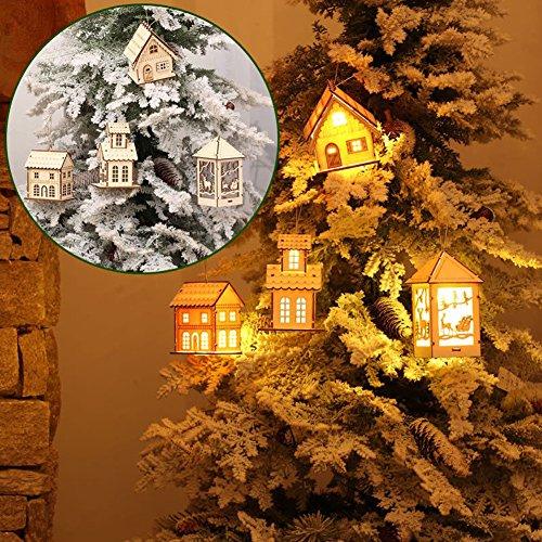 Weihnachtsbeleuchtung, Morbuy 1PCS LED Bäume Holz Haus Lichterkette Warm Weiß dekoration bar hotel zuhause drinnen draußen - Boden Sah