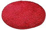 Resibano Badteppich Rund, 65cm Durchmesser, 15mm Flor, Rutschhemmend, Badvorleger, Bettvorleger (Rot)