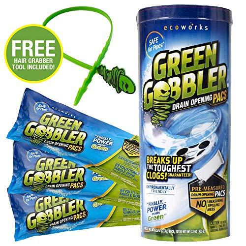 Green Gobbler Abflussöffner Pacs für Abfluss und Toilettendeckel, 3 Stück mit gratis Haargreifer