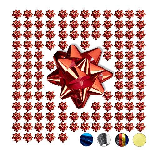 Relaxdays Geschenkschleifen 100er Set, Selbstklebend, Kleine Dekoschleifen für Weihnachten & Geburtstag, Ø 5 cm, Rot