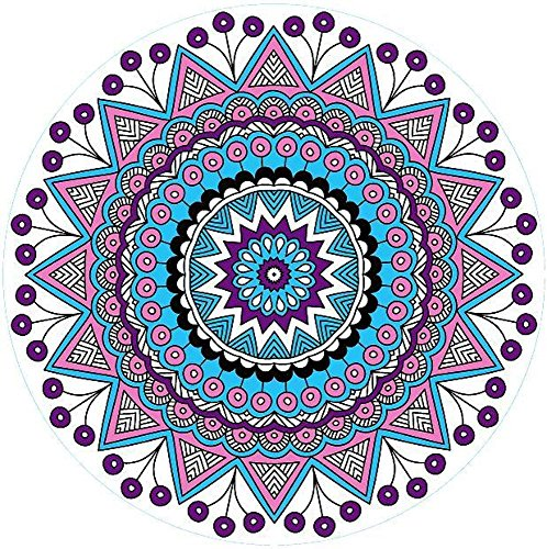 Kaxima Mikrofaser Kreis Badetuch Yoga-Matte gedruckt Strand Seitenschwellers gefransten Handtuch Strandmatte 150X150CM (Design Seitenschweller)