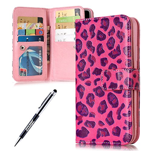 JAWSEU iPhone X Custodia in Pelle Portafoglio, Cover iPhone X, Lusso 3D Modello Goffratura Arts Lusso PU Leather Folio Case per iPhone X Custodia Cover con Gel Silicone Interno Case e Porta carte di C Leopardo Rosa