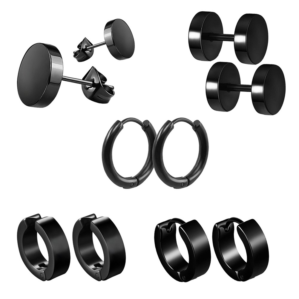 Pendientes de aros de acero inoxidable (5 pares) para hombres y mujeres – Zarcillos con piercing antialérgico helix original de estilo redondo de 18G Negros