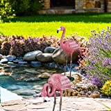 relaxdays deko flamingo metall am teich