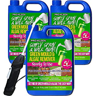 Pro-Kleen Ready to Use Simply Spray & Walk Away (3 x 5 Litres) Moss Killer & Green Mould & Algae Remover Cleaner for Patio, Fencing, Decking and more + Battery Powered Garden Sprayer