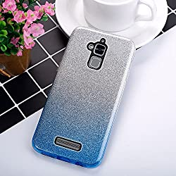 EINFFHO Coque ASUS Zenfone 3 Max ZC520TL, 2 in 1 Design créatif Luxe Gradient Glitter Brillant Briller Bling Ultra Mince Souple Silicone Housse Étui Coque pour ASUS Zenfone 3 Max ZC520TL, Bleu