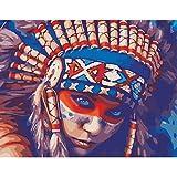 Zdmathe 16x20 Zoll DIY Digital Malen Nach Zahlen Kits für Kinder Erwachsene Zeichnung Kits Wandgemälde Leinwand Ölgemälde Home Mauer Dekor-Indianer Frau