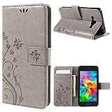 jbTec® Flip Case Handy-Hülle zu Samsung Galaxy Grand Prime / SM-G530H / SM-G531F - BOOK MUSTER Schmetterlinge S16 - Handy-Tas