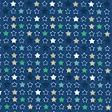 Baumwollstoff | Mehrfarbige Sterne - blau, grün, beige und