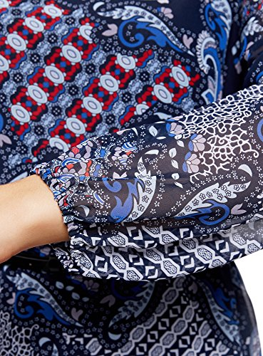 oodji Ultra Donna Abito Basic con Cintura Blu (7945E)