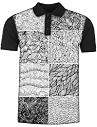 Snoogg Set 3 Sixteen Black and White Wave Patterns Seamlessly Tilingseamless Pat Men's Polo T-Shirt with Collar Stylish Half Sleeve (Cotton,Polyester)