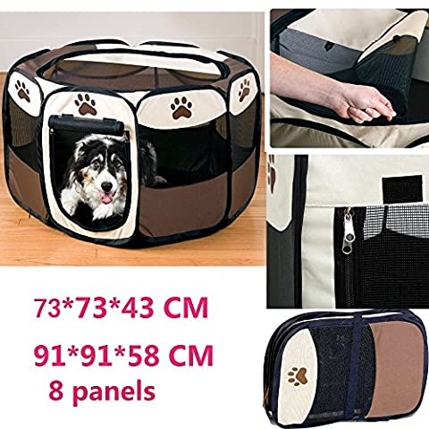Portable Foldable Pet Playpen,Pet Puppy Dog Playpen Exercise Pen Kennel,Removable Mesh Shade Cover, Dog Pop Up Silhouettes