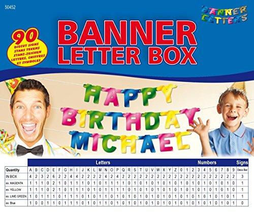 e Girlande! // MEGA BANNER LETTER BOX für eine individuelle Buchstaben Girlande mit 90 farbigen Buchstaben, Zahlen und Zeichen + 25 Verbinder und Schnur // Wimpelkette Geburtstag Jubiläum Party Hochzeit Feier Fete Happy Birthday (Individuelle Geburtstags-banner)
