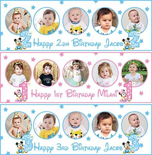 fancyprint 2x Personalisierte Geburtstag Banner Foto Minnie Mickey Mouse Kinder Poster Party Dekoration