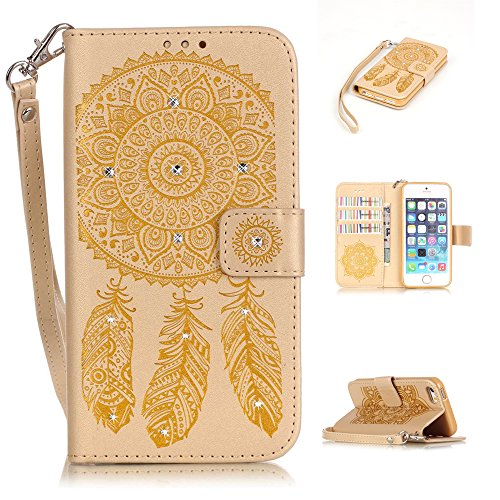 Nutbro iPhone SE Case, iPhone 5/5s/SE Wallet Case, with Built-in Credit Card Slots Wallet Case Flip Cover for iPhone 5/5s/S Gold
