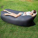 OOFAY Wasserdichtes Haltbares Zusammenklappbares Aufblasbares Luftsofa Für Indoor Outdoor Hangout Air Chair Couch Hängematte Faul Tasche,Black