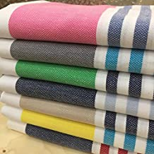 ANATURE toalla de hammam - Navy blue/Red - 100% algodón - Lavados -