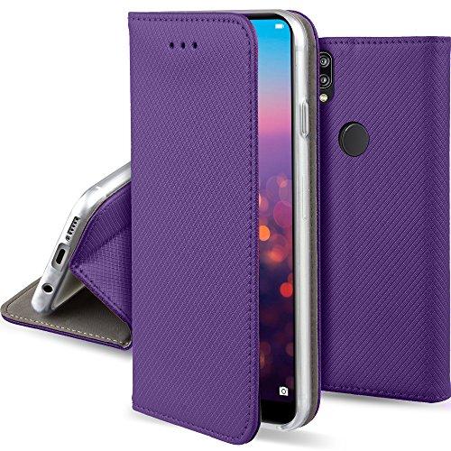 Moozy Hülle Flip Case für Huawei P20 Lite, Lila - Dünne magnetische Klapphülle Handyhülle mit Standfunktion