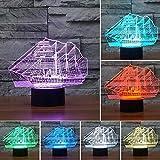 GUOOK Carro Armato per Auto da Corsa Serbatoio Aeroplano Luce Notturna 3D Lampada LED Cambio Colore Telecomando Touch Interruttore Ricarica USB per Regali Natale per Bambini Compleanno