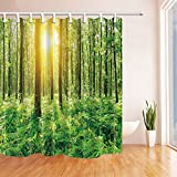 MIWANG Grünen Wald Sonne Duschvorhang, Badezimmer Wasserdicht Mildew-Proof Vorhang Vorhang Hängend, Mit 12 Haken, 100% Polyester, W180*H 210 cm