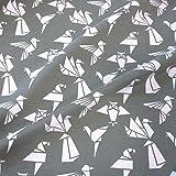 Stoff Baumwolle Jersey grau Origami Japan weiß Papier