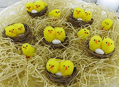 Multi Coloured Assorted Cheerful Fluffy Easter Baby Chicks, Confetti, Balloons For Party Decorations - Colours: Pink, Yellow, Blue and Green - Happy Easter Decorations, Kids, Chocolate, Eggs, Bunnies Fun, Family Day, Easter Egg Hunt, Tweek, Hens. (6 Nests with Chicks and Eggs)