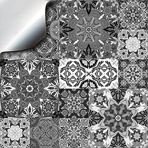 """24 Fliesenaufkleber für Küche und Bad Mosaik Wandfliese Aufkleber für 10x10 cm Fliesen Fliesen-Aufkleber Folie Deko-Fliesenfolie für Küche u. Bad (TP15 4\"""" Moroccan Greys)"""