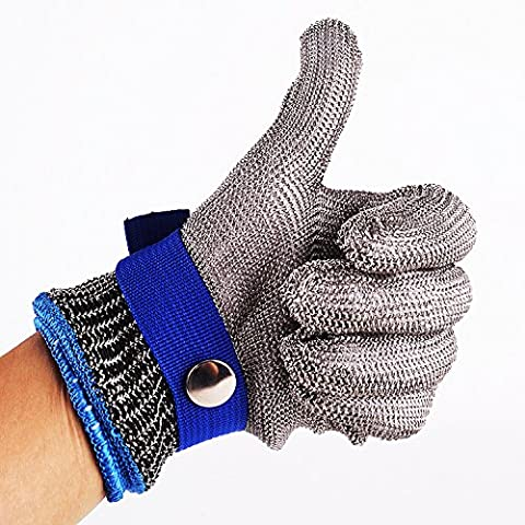 Safety Cut Proof Stab Resistant Stainless Steel Metal Mesh Butcher Blue Glove Size XL High Performance Level 5 Protection