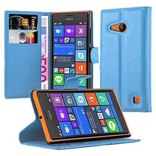 Cadorabo Hülle für Nokia Lumia 730 Hülle in Pastel blau Handyhülle mit Kartenfach & Standfunktion Case Cover Schutzhülle Etui Tasche Book Klapp Style Pastell-Blau