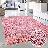 carpet city Shaggy Pastell Teppich Hochflor Langflor Einfarbig/Uni in Pastell-Rosa aus Polypropylen für Wohn-Schlafzimmer, Größe: 120x120 cm Rund