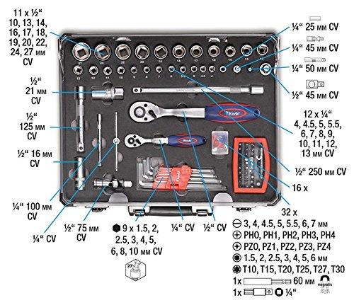 kwb Werkzeugkoffer 370780 (129-teiliger Inhalt, ideal für den ambitionierten Hausgebrauch, im stabilen Alukoffer)