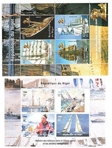 Navi e Imbarcazioni Stamp Collection con 2 foglietti / totale di 8 francobolli / Niger / 1998 / Mint never