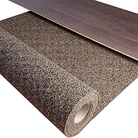 1 m² / Gummikork (Rubbercork) Akustik Trittschalldämmung und Gehschalldämmung für Laminat, Parkett, Kork und Vinylböden - Auch für Auslegware z.B. Teppichböden geeignet -Stärke: 2 mm - Wir machen Ihren Boden Leiser