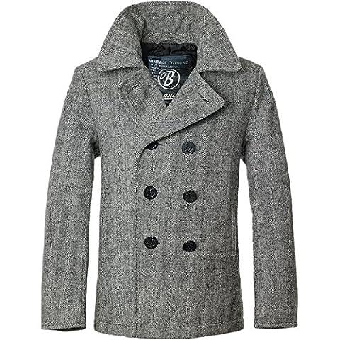 Brandit Mens Pea Coat (2X-Large, Grey Herringbone)