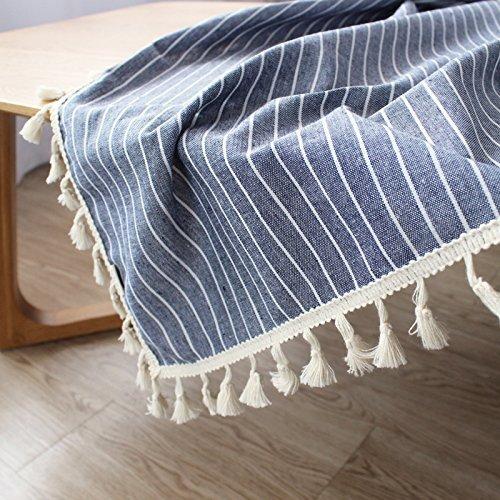 MOMO Einfaches modernes Baumwolltuch Stripes rechteckige Tischdecke-Farben,FF,90x90cm (Baumwoll-mischungen Gitter-muster,)