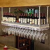 MEI XU-Casier à vin Verres en fer forgé blanc verre à vin verres rack Taille: 100/120 * 35 * 12cm @ (Couleur : Blanc, taille : 100*35*12cm)