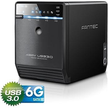 """FANTEC QB-35US3-6G Boîtier pour quatre disques durs externes (montage de 4 disques durs SATA I/II/III de 3,5"""" (8,89 cm), port USB 3.0 et eSATA, 6G prise en charge, ventilateur de 80 mm) Noir"""