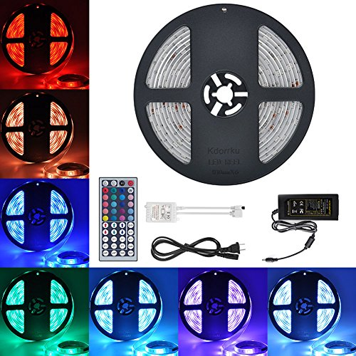 LED Streifen, kdorrku 5M 300 LED Lichtband LED Bänder SMD 5050 Wasserdicht Flexibel RGB IP65 LED Stripes mit 44 Tasten IR Fernbedienung für Decke Bar Theke Schrank Beleuchtung (5M)