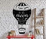 adesivo muro Love Quotes Ti amo fino alla luna e ritorno a casa Interni Soggiorno Decalcomanie in stile mongolfiera per soggiorno