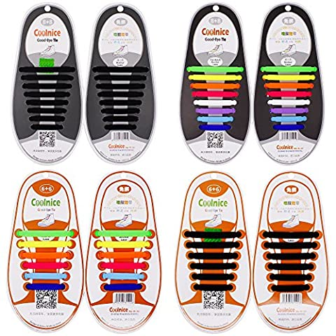 4 Pairs Lazy No Tie Silicone Shoelace for Adult and Kids, SENHAI Elastic Tie-free Wash-free Shoe Laces for Sneakers Running Shoes Boots Board Shoes and Casual Shoes-2 Black, 2 Multicolor