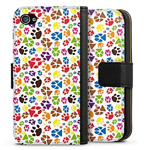 Apple iPhone X Silikon Hülle Case Schutzhülle Pfoten Bunt Hund Haustiere Sideflip Tasche schwarz